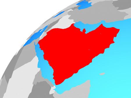 Arabia on globe. 3D illustration.