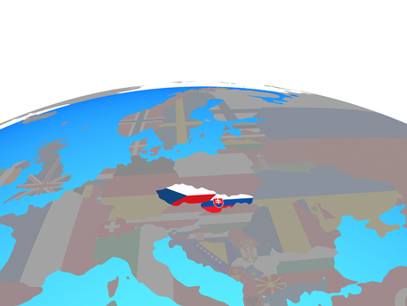 Former Czechoslovakia with national flags on political globe. 3D illustration.