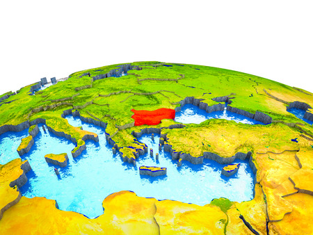 Bulgaria on 3D Earth with visible countries and blue oceans with waves. 3D illustration.