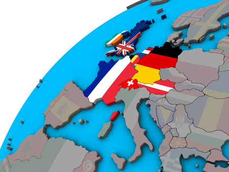 Western Europe with national flags on 3D globe. 3D illustration. Banco de Imagens