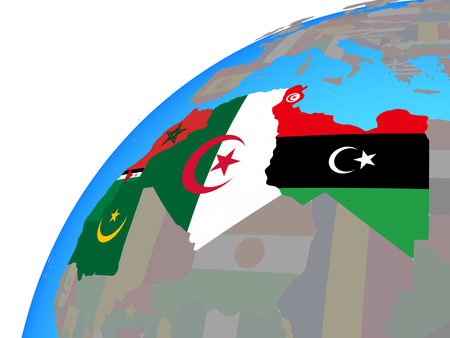 Maghreb region with embedded national flags on globe. 3D illustration.