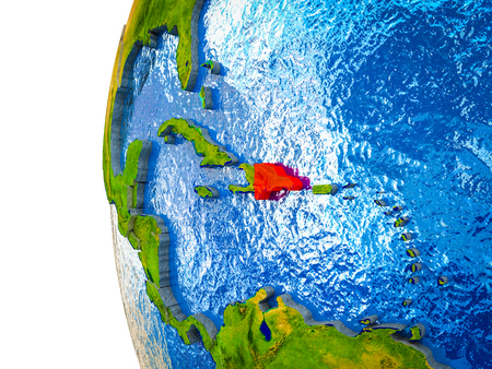 Dominican Republic highlighted on 3D Earth with visible countries and watery oceans. 3D illustration. 스톡 콘텐츠