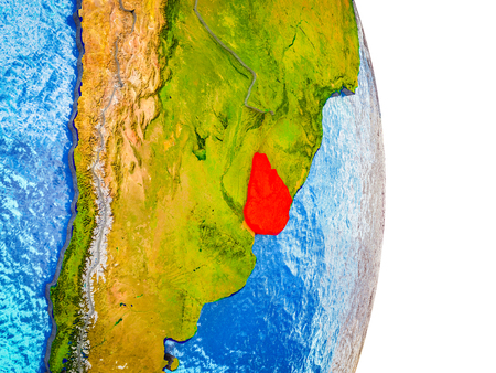Uruguay on 3D model of Earth with divided countries and blue oceans. 3D illustration.