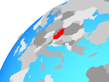 Hungary on globe. 3D illustration. Reklamní fotografie