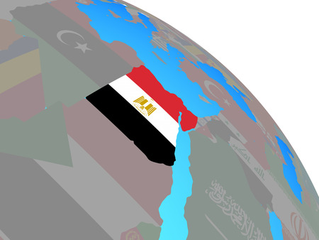 Egypt with national flag on simple blue political globe. 3D illustration. Stock Photo