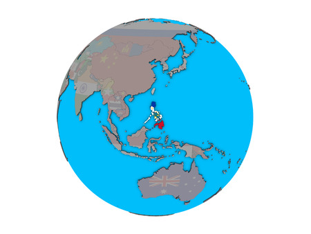 Philippines with embedded national flag on blue political 3D globe. 3D illustration isolated on white background.