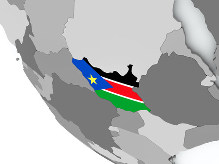 South Sudan on political globe with embedded flags. 3D illustration.