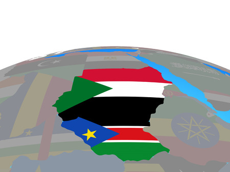 Former Sudan with national flags on political globe. 3D illustration.