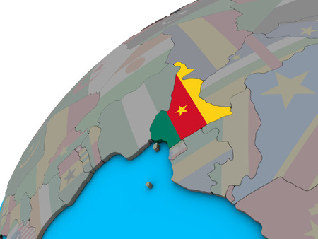 Cameroon with national flag on 3D globe. 3D illustration. Imagens