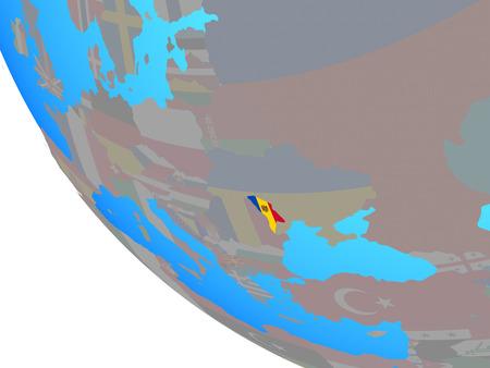 Moldova with national flag on simple globe. 3D illustration.