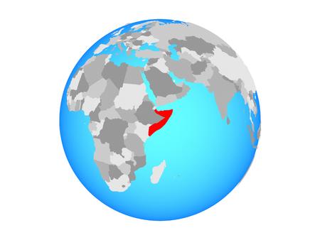 Somalia on blue political globe. 3D illustration isolated on white background.