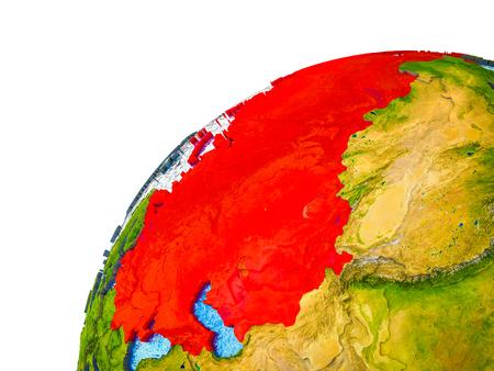 Former Soviet Union on 3D Earth model with visible country borders. 3D illustration.