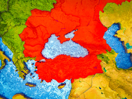 Black Sea Region on model of 3D Earth with blue oceans and divided countries. 3D illustration.