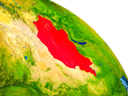 Mongolia Highlighted on 3D Earth model with water and visible country borders. 3D illustration.