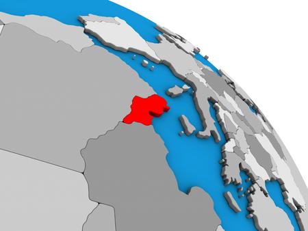 Tunisia on simple blue political 3D globe. 3D illustration.