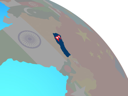Nepal with national flag on simple blue political globe. 3D illustration. Фото со стока