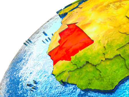 Mauritania on 3D Earth model with visible country borders. 3D illustration.