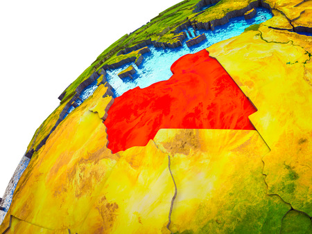 Libya on 3D Earth model with visible country borders. 3D illustration.