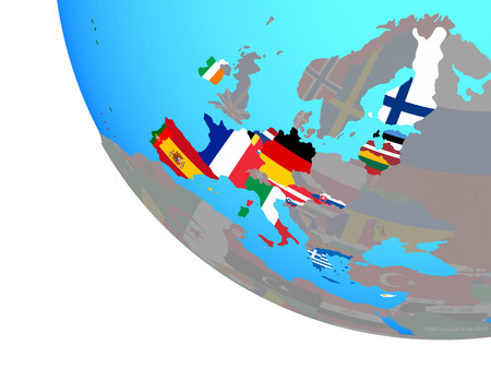 Eurozone member states with national flags on simple globe. 3D illustration.