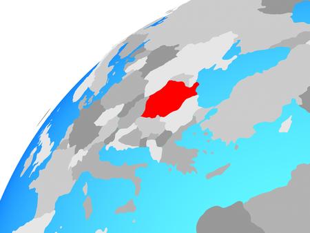 Romania on globe. 3D illustration. Stock Photo