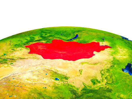 Mongolia on 3D Earth with visible countries and blue oceans with waves. 3D illustration.
