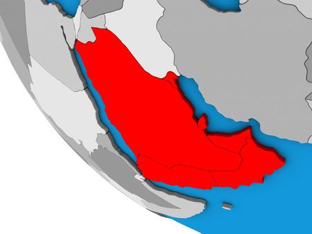 Arabia on simple 3D globe. 3D illustration.