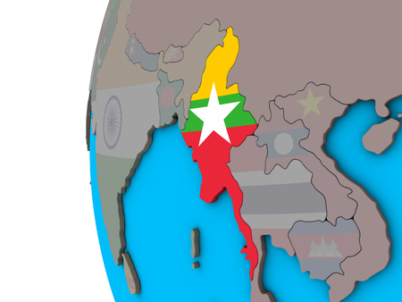 Myanmar with national flag on blue political 3D globe. 3D illustration.