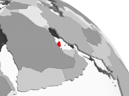3D render of Qatar in red on grey political globe with transparent oceans. 3D illustration. Stock Illustration - 110189043