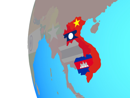 Indochina with embedded national flags on blue political globe. 3D illustration.