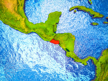 El Salvador on model of 3D Earth with blue oceans and divided countries. 3D illustration. Banco de Imagens