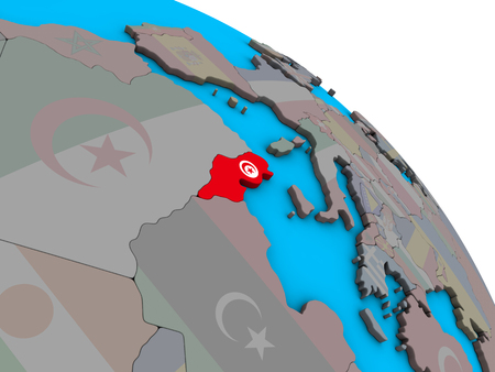 Tunisia with embedded national flag on simple blue political 3D globe. 3D illustration. 스톡 콘텐츠