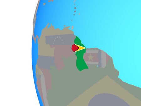 Guyana with embedded national flag on blue political globe. 3D illustration. Stock Photo