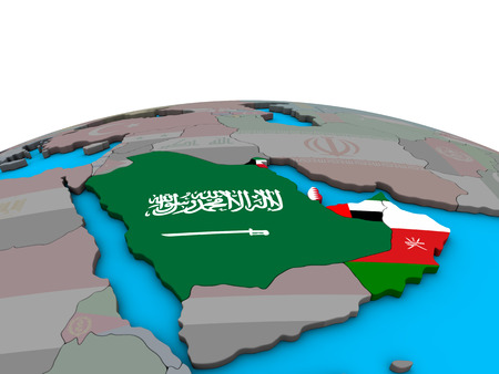 CCASG countries with embedded national flags on political 3D globe. 3D illustration.