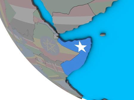 Somalia with embedded national flag on simple 3D globe. 3D illustration.