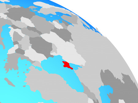 Crimea on simple blue political globe. 3D illustration.