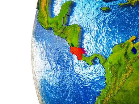 Costa Rica highlighted on 3D Earth with visible countries and watery oceans. 3D illustration. 版權商用圖片