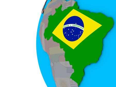Brazil with national flag on blue political 3D globe. 3D illustration.