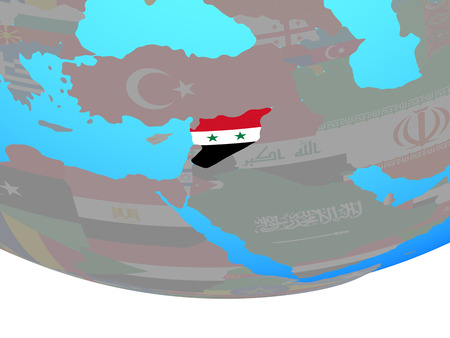 Syria with national flag on simple political globe. 3D illustration.