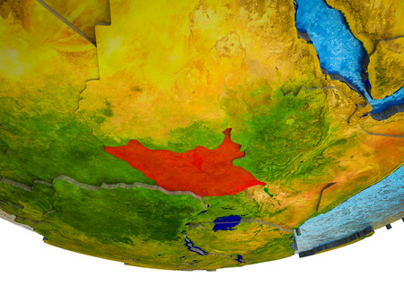 South Sudan on 3D Earth with divided countries and watery oceans. 3D illustration.