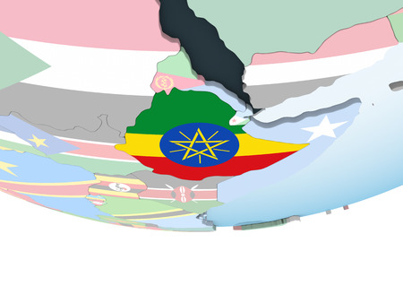 Ethiopia on bright political globe with embedded flag. 3D illustration.