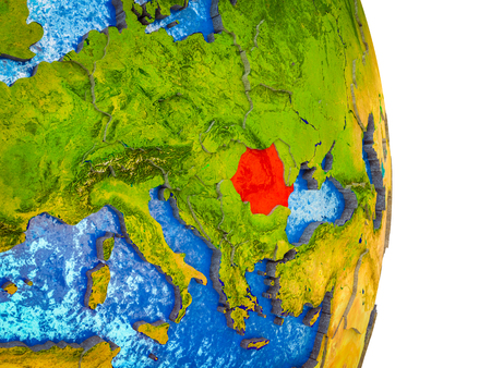 Romania on 3D model of Earth with divided countries and blue oceans. 3D illustration.
