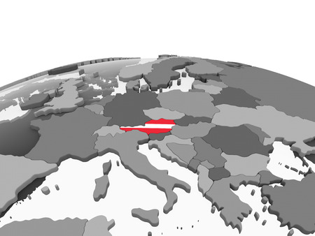 Austria on gray political globe with embedded flag. 3D illustration. Standard-Bild - 110189236