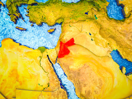 Jordan on model of 3D Earth with blue oceans and divided countries. 3D illustration. Stockfoto