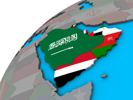 Arabia with national flags on 3D globe. 3D illustration.