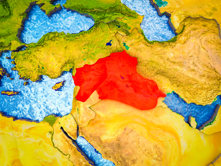 Islamic State on model of 3D Earth with blue oceans and divided countries. 3D illustration.