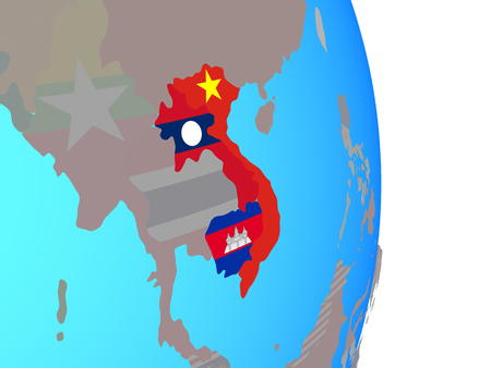 Indochina with national flags on simple political globe. 3D illustration.