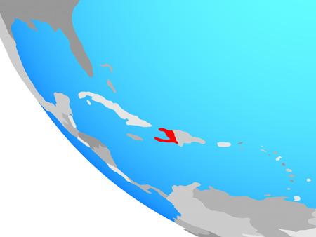 Haiti on simple globe. 3D illustration.