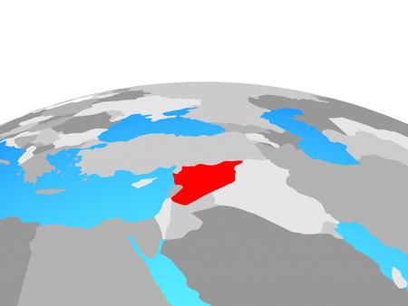 Syria on political globe. 3D illustration.
