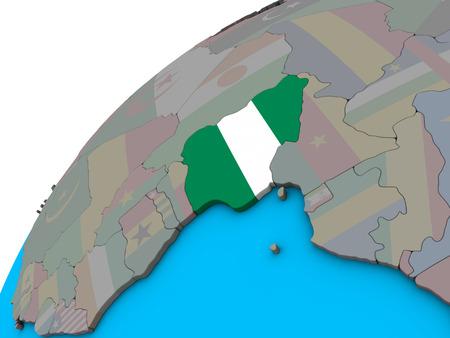 Nigeria with national flag on 3D globe. 3D illustration.