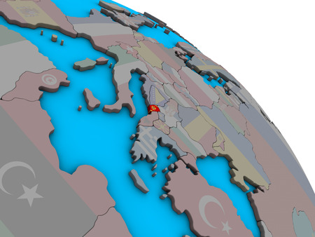 Montenegro with embedded national flag on simple blue political 3D globe. 3D illustration. Фото со стока